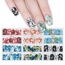 12 Patterns Nail Art Water Decals Transfer Stickers Marble Grain Theme