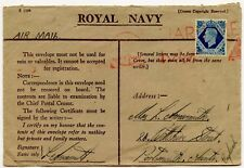 GB ROYAL NAVY ENVELOPE WW2 MARITIME + AIRMAIL 10d to PORTSMOUTH RED MACHINE PMK