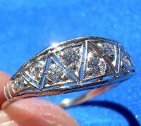 20S Deco Diamond Anniversary Wedding Band Vintage Antique Platinum Eternity ring