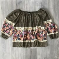 Anthropologie Fei Off The Shoulder Silk Floral Shirt Semi Sheer Small