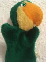 Animal Fair Parrot Hand Puppet  Plush Toy Vintage 1974 Green Yellow Pretend Play