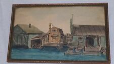 Signed Early 20th century Watercolor 1930's Lake Cottage Pier Boats Marina Scene