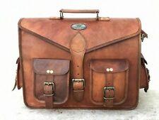 """Leather Shoulder Satchel Vintage Messenger Sling Bag By GVB 18"""" Men's Genuine"""