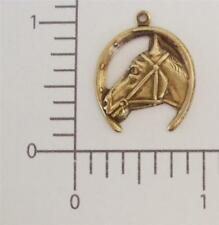 & Horseshoe Charm Jewelry Finding 40053 3 Pc Brass Oxidized Horse
