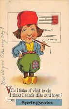 """""""I Tinks I Send this Card to You"""" from Springwater New York~Tink What to Do~1914"""