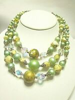 vintage Necklace 3 strands graduated beads multi color