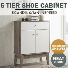 MEYA  5 Tier Shoe Cabinet Scandinavian WHITE Oak Modern Storage Furniture