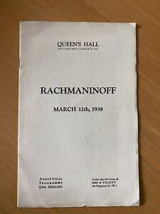 Rachmaninov 1938 solo piano recital programme Queen's Hall London