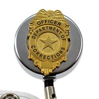 Department of Corrections Officer Badge Reel ID Security Pass Holder Chrome