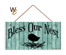 Bless Our Nest Sign, Shabby Sign, Gulf Stream Green 5x10 Rustic Bird & Nest Sign