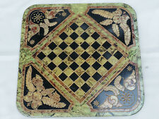 New listing Rare Signed Antique Hand Painted Marblized Pa Slate Folk Art Game Checker Board