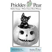 New PRICKLEY PEAR RUBBER STAMP HALLOWEEN CAT IN PUMPKIN FREE US SHIP