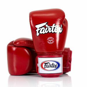 Fairtex BGV1 Leather Universal Boxing Gloves Red Muay Thai Kick Sparring Mitts