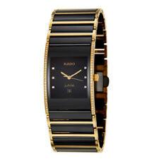 MENS WATCH 18K GOLD BLACK CERAMIC Inlay Diamond WATCHES