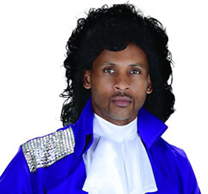80's Pop Star Wig Prince Purple Rain Singer Black Hair Curly Movie Rogers Nelson