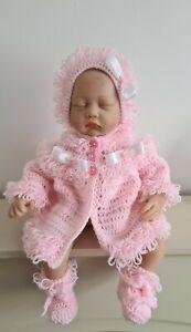 Hand gehäkelte Neugeborenen Mädchen Hakenband Cardigan/Mantel Set mit Mütze & Booties
