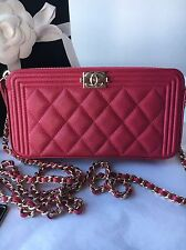 Auth BNIB Chanel Boy WOC Double Zip Fuchsia Pink Caviar Wallet On A Chain Bag