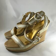 COACH Women's Maralee Tan Wedge Platforms Ankle Strap Shoes Sandals 9.5 B