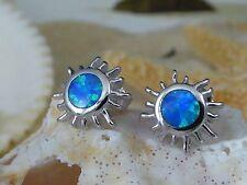 .925 STERLING SILVER BLUE OPAL SUN POST EARRINGS