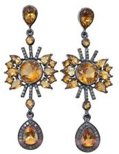 Victorian 925 Silver Dangler Earring 2.70cts Rose Cut Diamond Citrine Antique