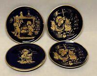 """Set 4 Vtg Christmas Lindner Kueps Bavaria Echt Cobalt Blue/Gold 4"""" Plates Signed"""