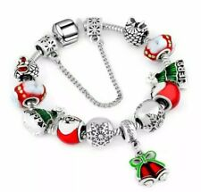 New Snake Chain Charm Bracelet with European Christmas Santa Charms Size 7.5""