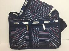 NWT LeSportsac Deluxe Everyday Bag With Pouch $82 Zig Zag Stripe