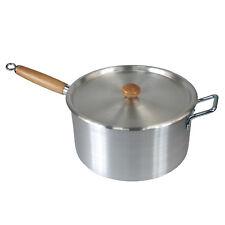 "10"" Wooden Handle Aluminium Kitchen Cooking Pan Saucepan Pot + Lid Cookware Set"