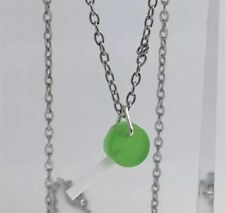 Tiny Green Lollipop Lolly Pendant Necklace Resin Kitsch Bright Silver Chain A131