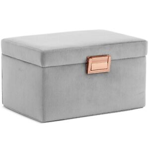 Beautify Grey Velvet Jewellery Box Storage Organiser with Ring Compartments