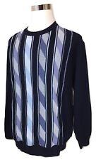 MONTECHIARO Italy Mens XL Crewneck Sweater Cotton Blend Blue Striped