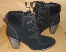 UGG Australia ANALISE Black Suede Sheepskin Ankle Boots Size US 8 NIB #1008620