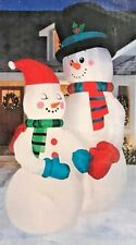 RARE NEW GIANT 10.5 FT TALL LIGHTED CHRISTMAS SNOWMAN COUPLE INFLATABLE BY GEMMY