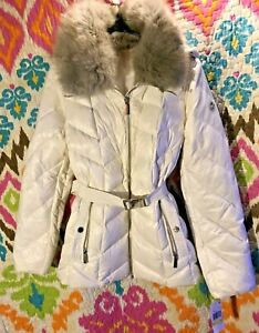 NEW Michael Kors Belted Puffer Coat Down Hood Faux Fur Trim BNWT Medium Sold Out
