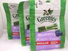 New listing 3 Greenies Dental Dog Treats Regular Blueberry 12 Oz 12 Treats Each Bag 8/2021