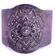Big Mayan Calendar Reppouse Raised Cuff Vintage Ornate Sterling Silver Bracelet