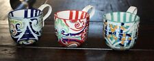 3 Multi-Colored Coffee Tea Mugs Interior Stripes Navy, Red, Green 10-Ounce