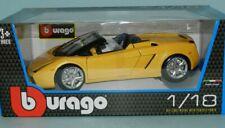 Burago 1/18  Lamborghini Gallardo Spyder - Yellow, Model Car