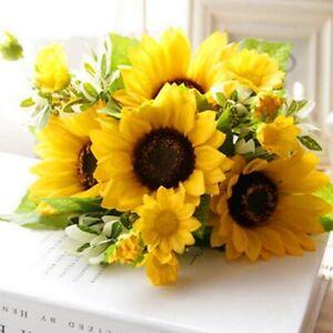 Plastic Sunflower Artificial Fake Bouquet Simulation Flowers Party Home Decor