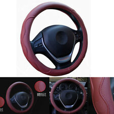 Burgundy Dynamic Fiber Leather Embossed 38cm Steering Wheel Cover For Most Car