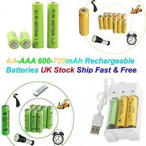 AAA Rechargeable Solar Light Batteries 1.2v 700,600mAh AA NiCd & NiMH Batteries