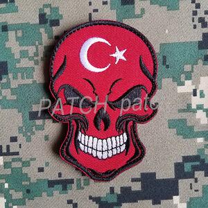 Punisher Skull Flag of Turkey Turkish Star Crescent Moon Hook Patch Badge Red