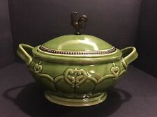 Cracker Barrel Elegant Rooster Double Handle Covered Casserole Green