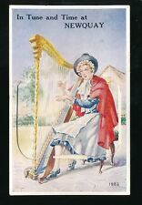 Wales Cardiganshire NEWQUAY Welsh costume dress Harp Pocket PPC Used 1953