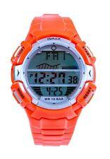 Unisex OMAX Silver Digital Dial Orange Rubberized Strap Classic LCD Watch Vintag