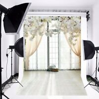 5X7FT White Flower Romantic Window Photography Backdrop Background Studio Props