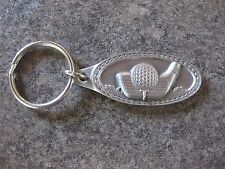 GOLF CLUB & BALL ( PEWTER ) KEY CHAIN KEY RING