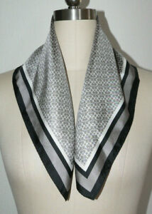 "Women's Gray COACH Logo Square Silk Scarf Black Edge Gorgeous 21.5"" x 21.5"""