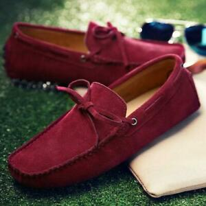 Suede Leather Mens SLIP ON loafers Shoes Moccasin men boat shoe Driving Shoes