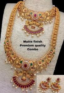 South Indian Bollywood Gold Choker Long Temple Necklace Wedding Jewelry 4Pcs
